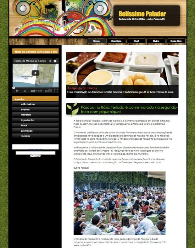 Curadoria de conteúdo blog restaurante Divina Itália. (Design fornecido pelo cliente).