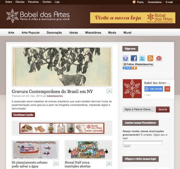 Blog Babel das Artes - loja de arte e moda artesanal. Prêmio melhor blog corporativo Top Blog 2008.