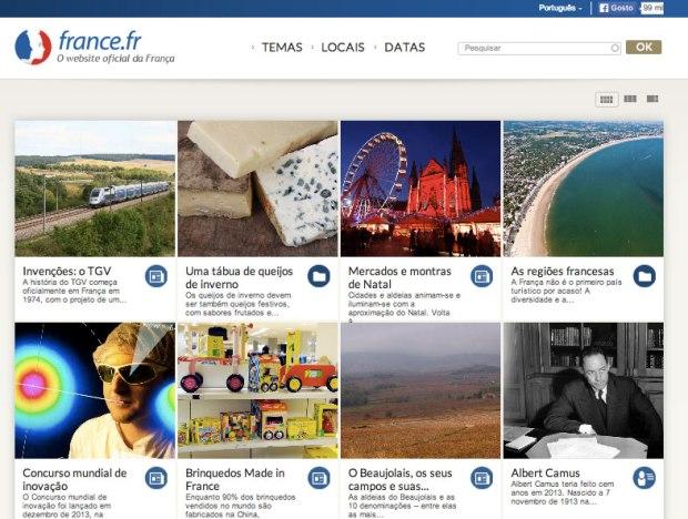 Site oficial da França organizado por Temas, Mapas e Datas.