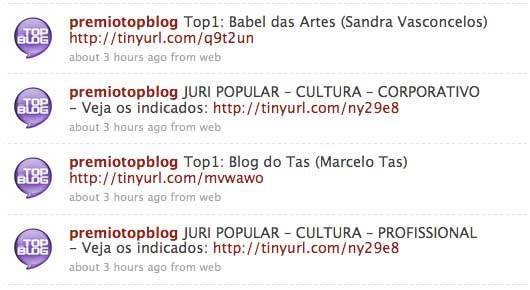 O anúncio do prêmio Top Blog foi feito em tempo real pelo Twitter.